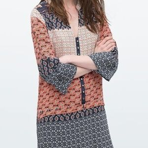 Zara 3/4 Sleeve Orange Blue Tunic/ Mini Dress M